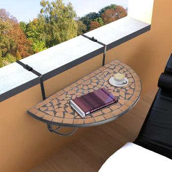 vidaXL Viseći stolić za balkon od terakote s mozaikom