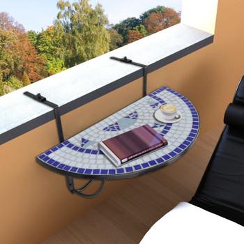 vidaXL Viseći stolić za balkon s mozaikom plavo bijeli