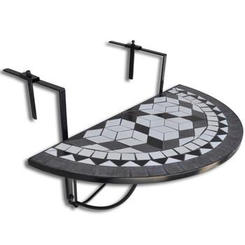 vidaXL Viseći stolić za balkon s mozaikom crno bijeli