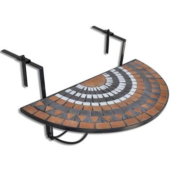 vidaXL Viseći stolić za balkon od terakote s bijelim mozaikom