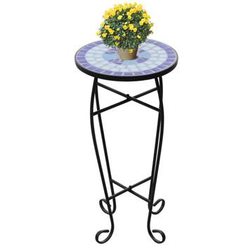 Bočni stol uzorkom mozaika, plave i bijele boje