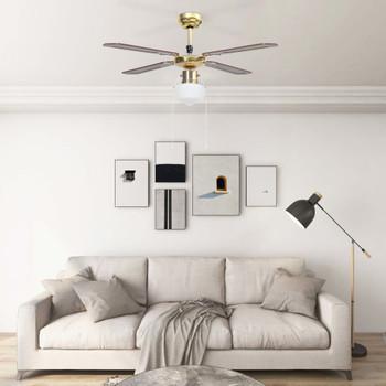vidaXL Stropni ventilator sa svjetlom 106 cm smeđi