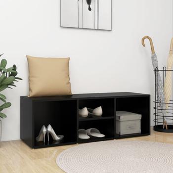 vidaXL Klupa za spremanje obuće crna 105 x 35 x 35 cm od iverice