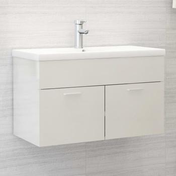 vidaXL Ormarić za umivaonik visoki sjaj bijeli 80x38,5x46 cm iverica