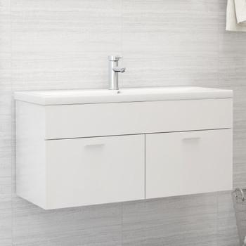 vidaXL Ormarić za umivaonik visoki sjaj bijeli 100x38,5x46 cm iverica