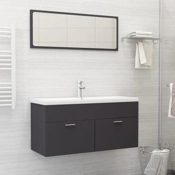 vidaXL 2-dijelni set kupaonskog namještaja sivi od iverice