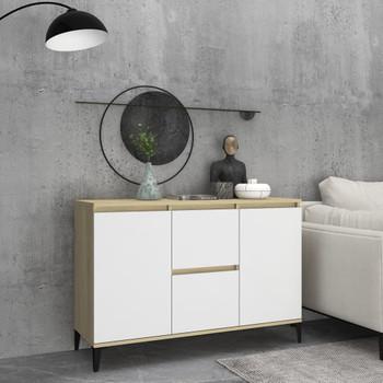 vidaXL Komoda bijela i boja hrasta sonome 104 x 35 x 70 cm od iverice