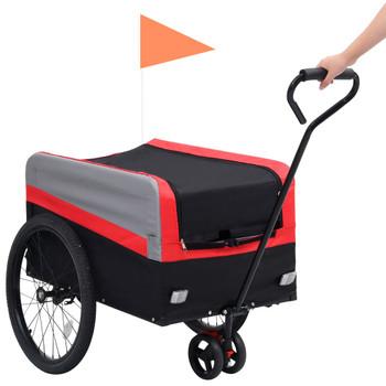 vidaXL 2-u-1 XXL teretna prikolica i kolica za bicikl crveno-sivo-crna
