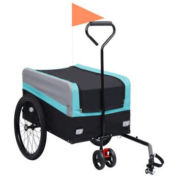 vidaXL 2-u-1 XXL teretna prikolica i kolica za bicikl plavo-sivo-crna