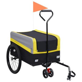 vidaXL 2-u-1 XXL teretna prikolica i kolica za bicikl žuto-sivo-crna