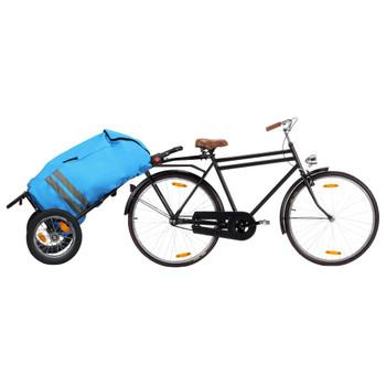 vidaXL Sklopiva prikolica za bicikl s torbom za namirnice plavo-crna