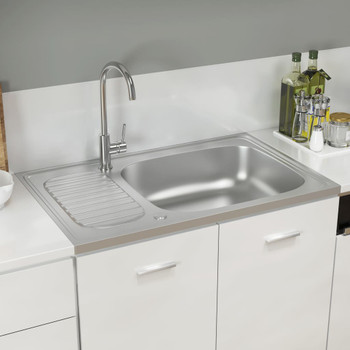 vidaXL Kuhinjski sudoper srebrni 800x500x155 mm od nehrđajućeg čelika