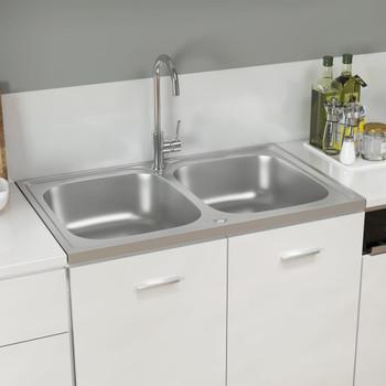 vidaXL Kuhinjski sudoper s dvije kadice srebrni 800x500x155 mm čelični