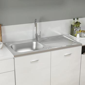 vidaXL Kuhinjski sudoper srebrni 1000x500x155 mm od nehrđajućeg čelika