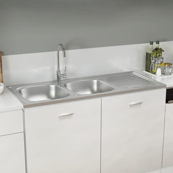 vidaXL Kuhinjski sudoper s dvije kadice srebrni 1200x500x155 mm čelik