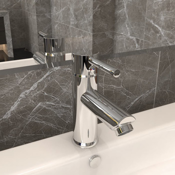 vidaXL Kupaonska slavina za umivaonik kromirana 130 x 176 mm