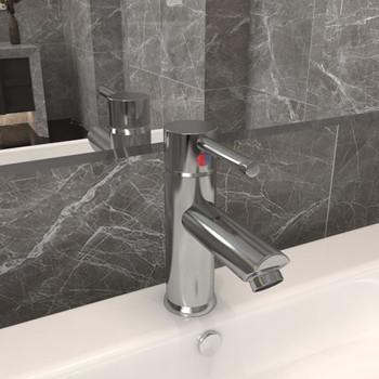 vidaXL Kupaonska slavina za umivaonik srebrna 130 x 176 mm