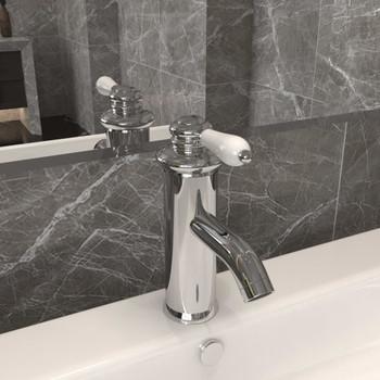 vidaXL Kupaonska slavina za umivaonik kromirana 130 x 180 mm