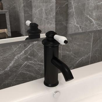 vidaXL Kupaonska slavina za umivaonik crna 130 x 180 mm