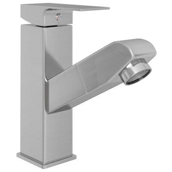 vidaXL Slavina za umivaonik s funkcijom izvlačenja srebrna 157x172 mm