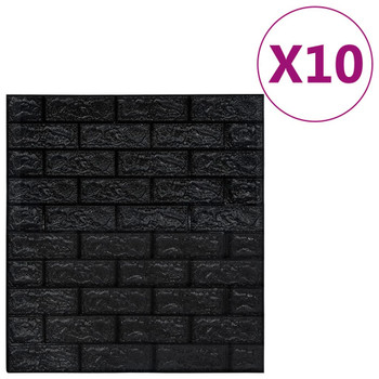 vidaXL 3D zidne tapete s uzorkom cigli samoljepljive 10 kom crne