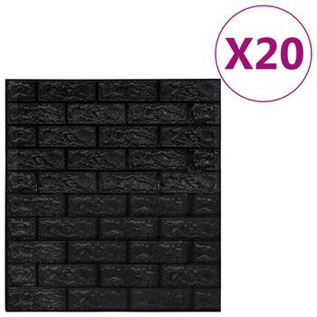 vidaXL 3D zidne tapete s uzorkom cigli samoljepljive 20 kom crne