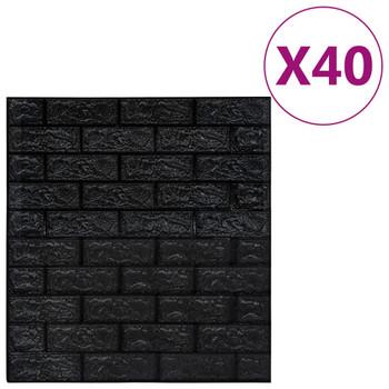 vidaXL 3D zidne tapete s uzorkom cigli samoljepljive 40 kom crne