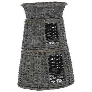 vidaXL 3-dijelni set košara za mačke s jastucima sivi 47x34x60 cm vrba