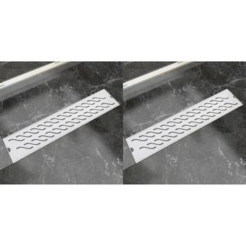 vidaXL Linearni odvod za tuš 2 kom valoviti 530 x 140 mm čelični