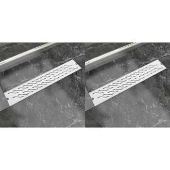 vidaXL Linearni odvod za tuš 2 kom valoviti 630 x 140 mm čelični