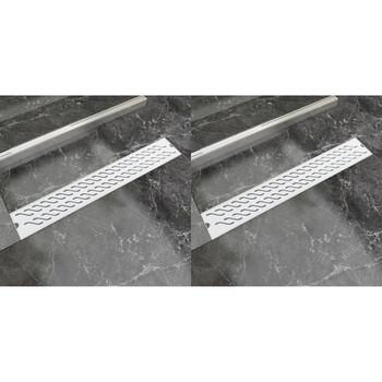 vidaXL Linearni odvod za tuš 2 kom valoviti 730 x 140 mm čelični