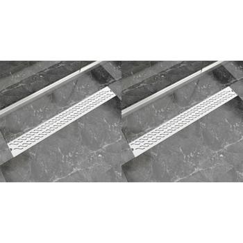 vidaXL Linearni odvod za tuš 2 kom valoviti 930 x 140 mm čelični