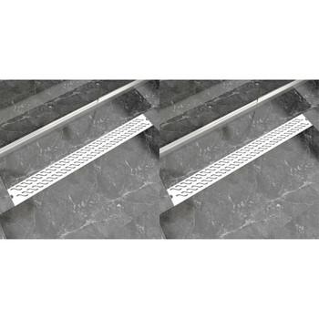vidaXL Linearni odvod za tuš 2 kom valoviti 1030 x 140 mm čelični