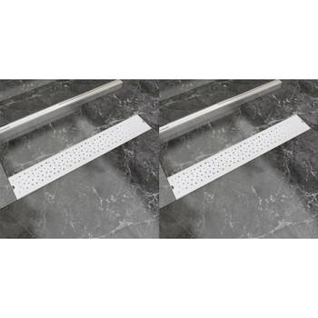 vidaXL Linearni odvod za tuš 2 kom s kružićima 730 x 140 mm od čelika