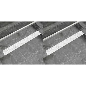 vidaXL Linearni odvod za tuš 2 kom s kružićima 930 x 140 mm čelik