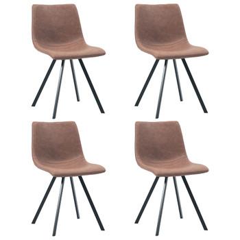 vidaXL Blagovaonske stolice od umjetne kože 4 kom srednje smeđe