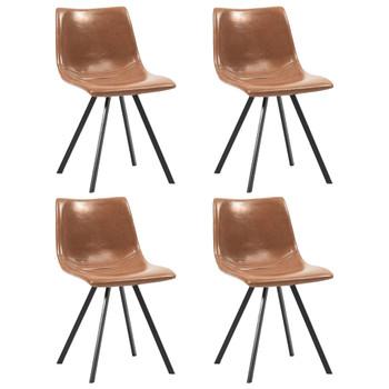 vidaXL Blagovaonske stolice od umjetne kože 4 kom boja konjaka