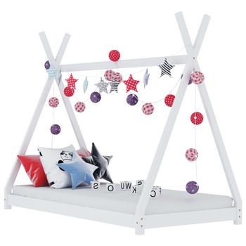vidaXL Okvir za dječji krevet od masivne borovine bijeli 70 x 140 cm