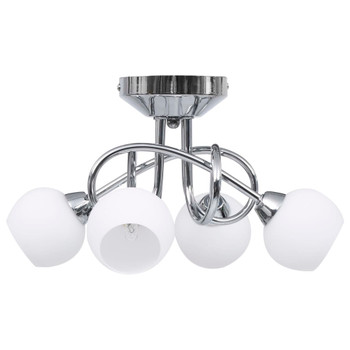 vidaXL Stropna svjetiljka s okruglim bijelim sjenilima za 4 žarulje G9