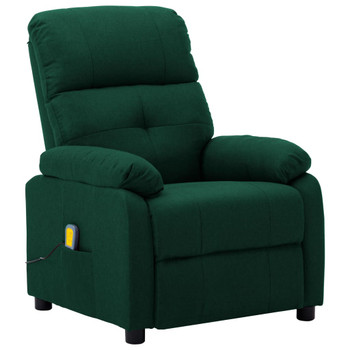vidaXL Masažna fotelja od tkanine tamnozelena