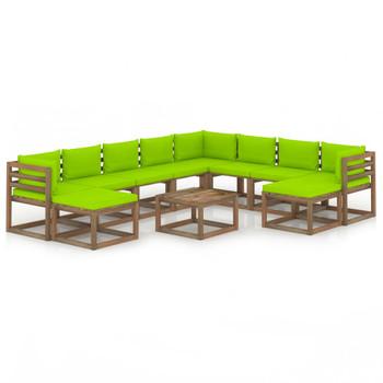 vidaXL 11-dijelna vrtna garnitura s jarko zelenim jastucima