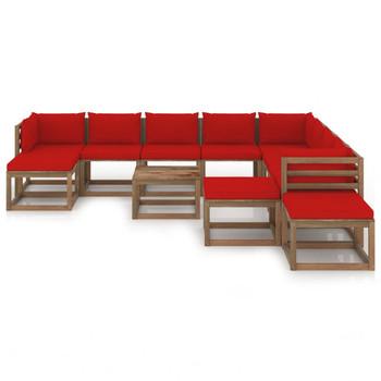 vidaXL 12-dijelna vrtna garnitura s crvenim jastucima