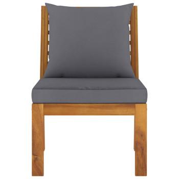 vidaXL Modularna srednja sofa s tamnosivim jastucima bagremovo drvo