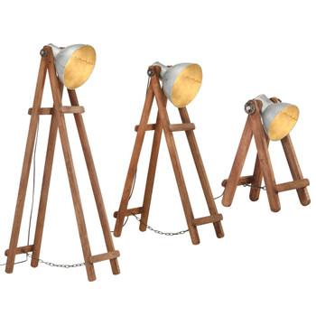 vidaXL Podne svjetiljke 3 kom srebrne E27 od masivnog drva manga