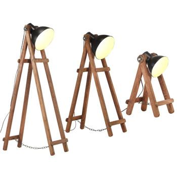 vidaXL Podne svjetiljke 3 kom crne E27 od masivnog drva manga