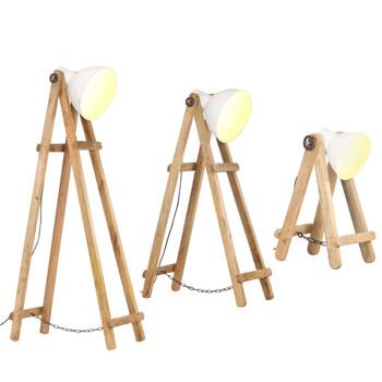 vidaXL Podne svjetiljke 3 kom bijele E27 od masivnog drva manga