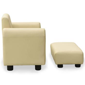 vidaXL Dječja sofa s tabureom od umjetne kože krem bijela