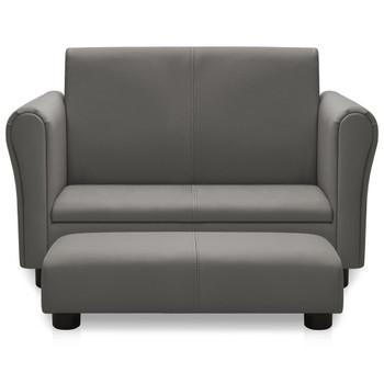 vidaXL Dječja sofa s tabureom od umjetne kože siva