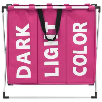 vidaXL Košara za razvrstavanje rublja s 3 odjeljka ružičasta