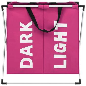 vidaXL Košara za razvrstavanje rublja s 2 odjeljka ružičasta
